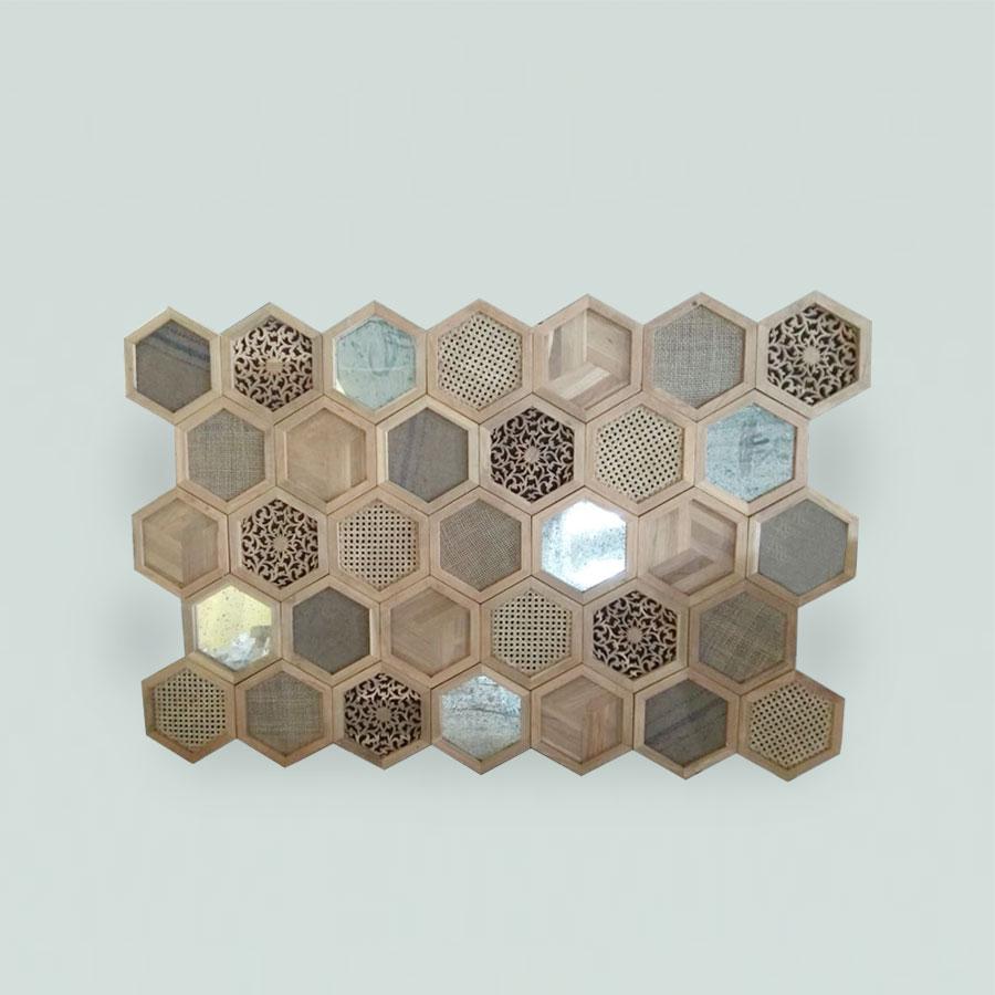 Wall Deco Hexagon Antiq Glass